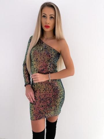 Sukienka cekinowa na jedno ramię Kameleon