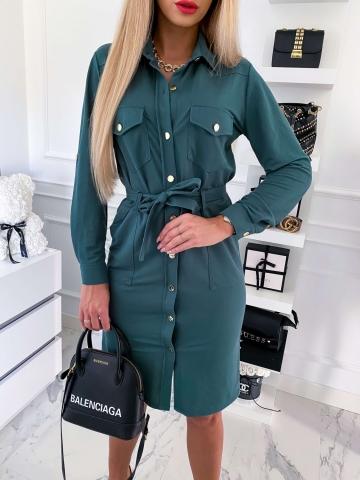 Sukienka koszulowa butelkowa zieleń Midi Colori