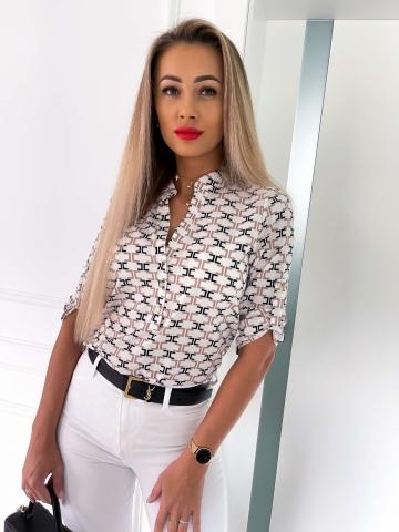Koszula biała w geometryczne wzory La Blanche
