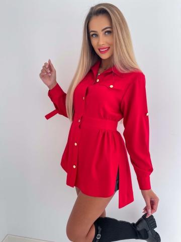 Czerwona asymetryczna Koszula Marii