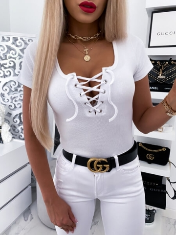 Biała bluzka wiązany dekolt