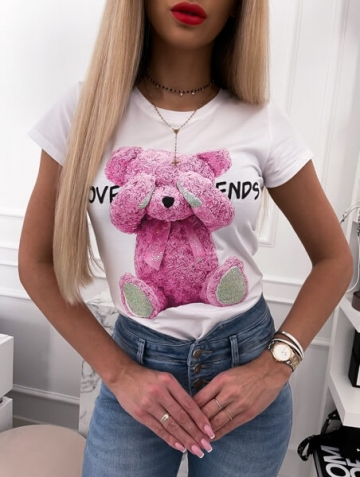 Biały t-shirt Bear pink
