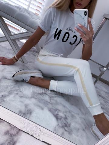 Białe spodnie Lampas GOLD