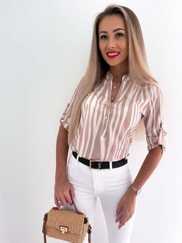 Koszula biało-beżowa zebra