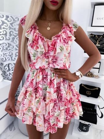 Sukienka w różowe kwiaty Finezja