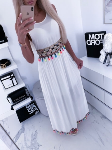 Biała Sukienka MAXI frędzle