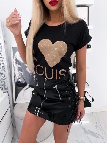 Czarny T-shirt I Love Louis