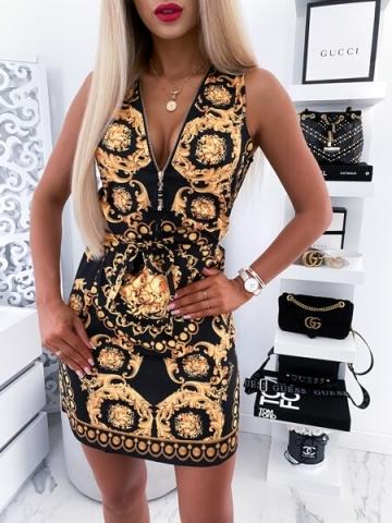 Czarna sukienka w złote wzory zip