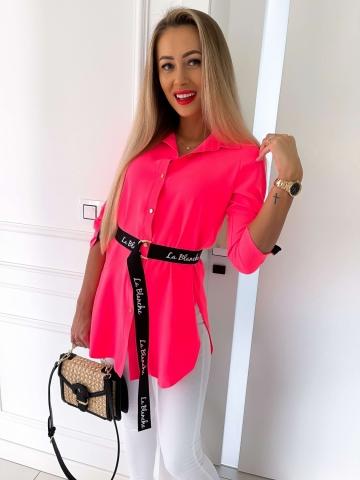 Neonowa długa koszula z paskiem La Blanche