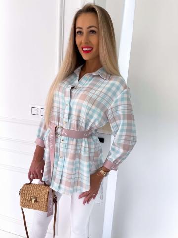 Długa koszula w kratę z paskiem La Blanche
