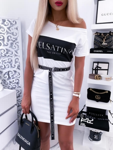 Biała sukienka z paskiem Logo Velsatino