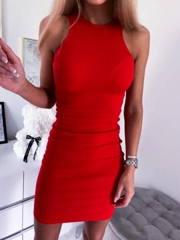 Czerwona Sukienka Midi Lusi
