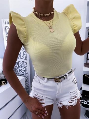 Cytrynowa bluzka z falbankami Fame