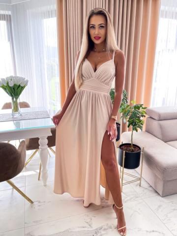 Beżowa Sukienka Maxi z rozcięciem Crystal