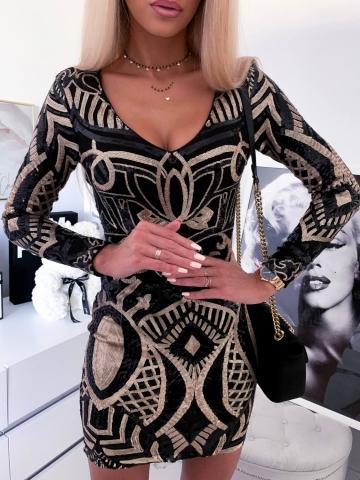 Czarna sukienka cekinowa Gloria
