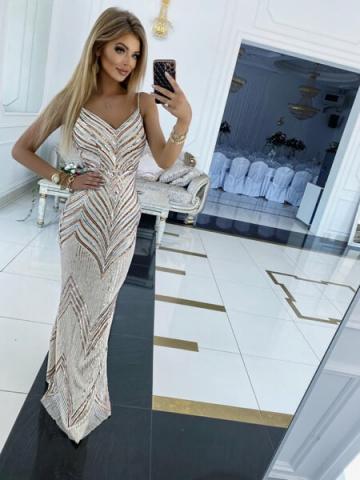 Sukienka cekinowa Maxi na ramiączkach Akacja