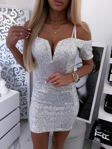 Sukienka biała srebrne cekiny
