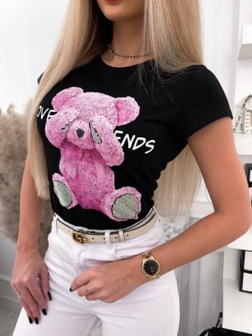 Czarny T-shirt bear pink
