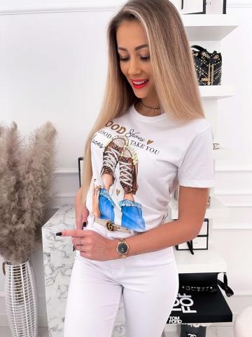 Biały T-shirt z nadrukiem Good Shoes