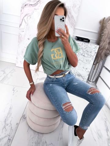 T-shirt khaki ze złotym naszyciem