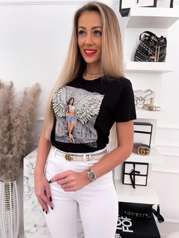 Czarny T-shirt Women Angel