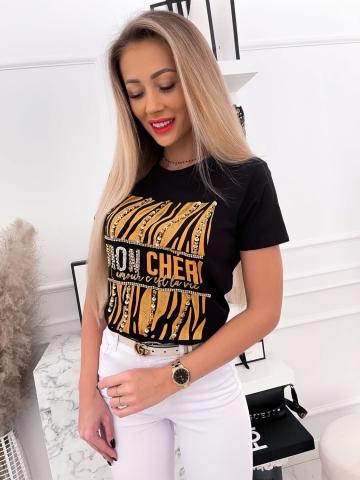 Czarny T-shirt Mon Cheri z cekinami