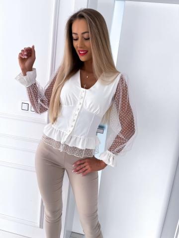 Kremowa bluzka siateczkowe rękawy Zoeva