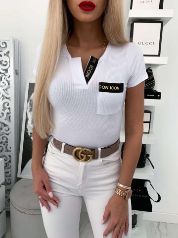 Biała bluzeczka z krótkim rękawem ICON