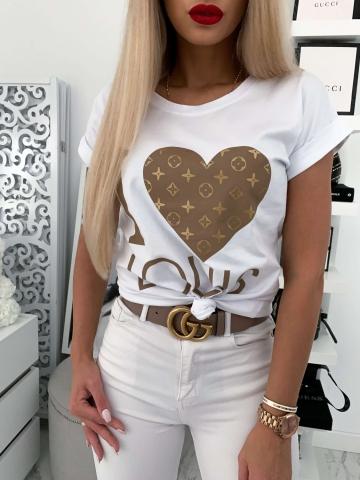 Biały T-shirt I Love Louis