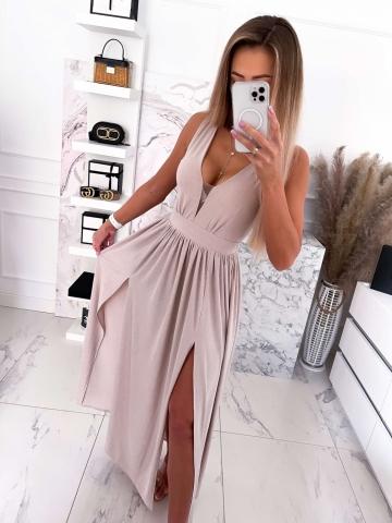 Beżowa brokatowa sukienka z rozcięciami Luxuar