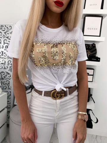 Biały t-shirt zdobiony cekinami FUN