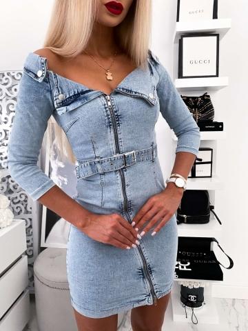 Sukienka Jeans na ramiona zameczki