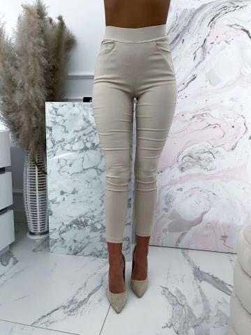 Beżowe elastyczne spodnie z wysokim stanem