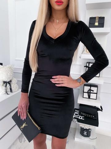 Czarna sukienka welurowa z długim rękawem