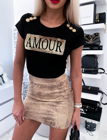 Czarny T-shirt Amour