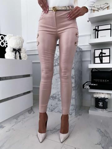 Beżowe woskowane spodnie zip z napami