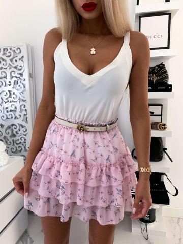 Różowa zwiewna spódniczka w kwiaty Chloe