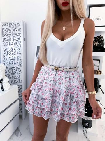 Biała spódniczka w różowe kwiatki Chloe