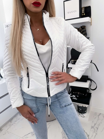 Biała pikowana kurtka z lampasem
