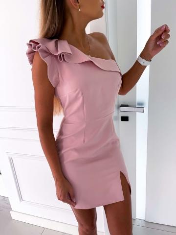 Sukienka ołówkowa na jedno ramię z falbanką