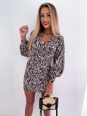 Sukienka beżowo-czarna Zebra Roco