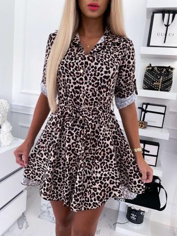 Sukienka koszulowa w panterkę z paskiem