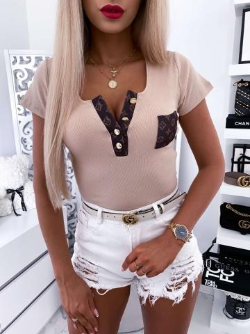 Beżowa bluzka z krótkim rękawem Louis
