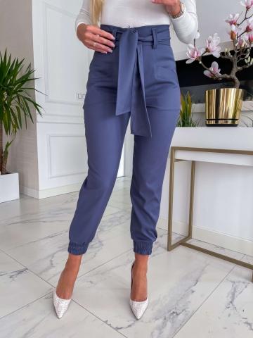 Granatowe spodnie Cygaretki Lola z paskiem