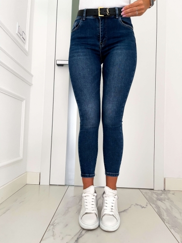 Spodnie granatowe Jeans gładkie Push-Up