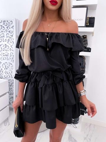 Czarna sukienka hiszpanka falbanki