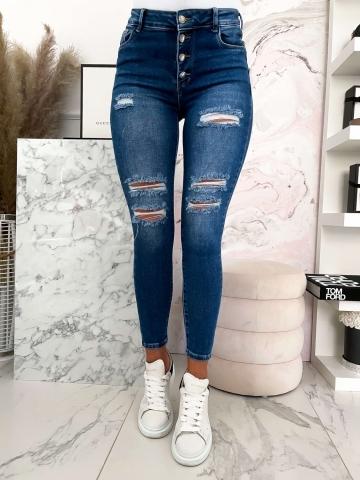Spodnie granatowe Jeans z dziurami Push-Up