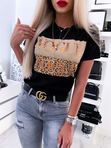 Czarny T-shirt Vogue