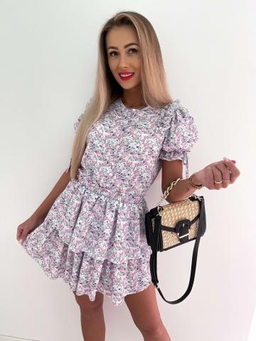 Kwiatowa sukienka Loe z falbankami