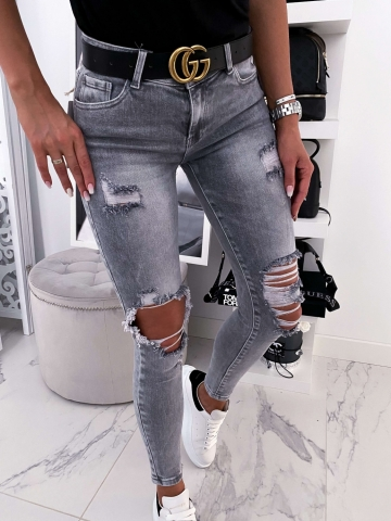 Spodnie Jeans szare dziury wyższy stan